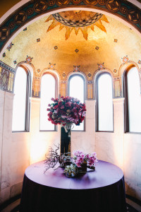 Entrance piece with jewel tone flowers, Los Angeles Wedding decor