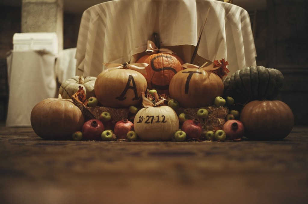 Pumpkin and gourd wedding decor