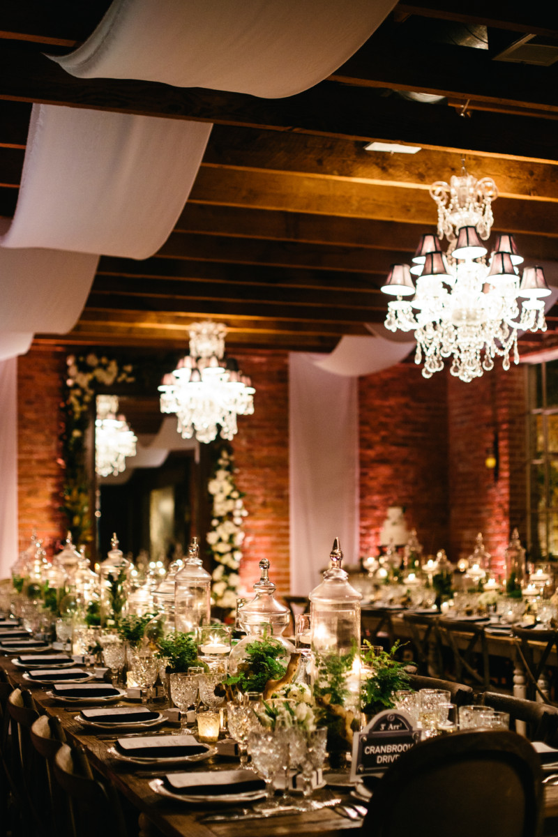 Photo of interrior wedding design using apothecary jars at Carondelet House