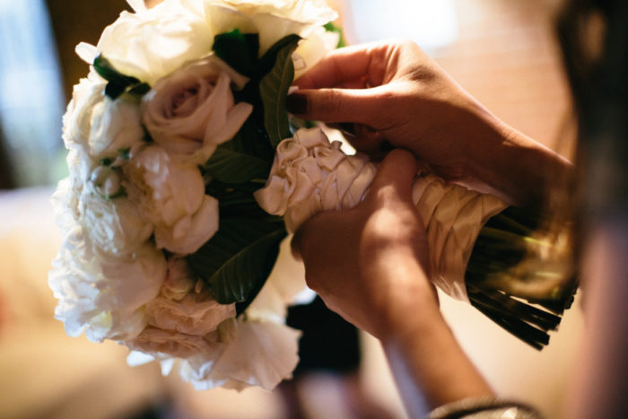 Close up of white bridal bouquet by La Petite Gardenia.