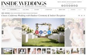Inside weddings home page featuring a classic California wedding designed by La Petite Gardenia.