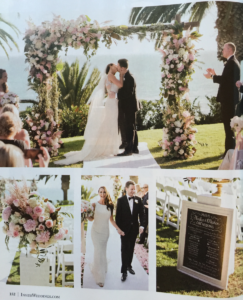Collage of an oceanfront wedding ceremony.