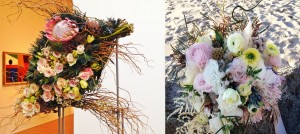 Blush beach palette bouquets.