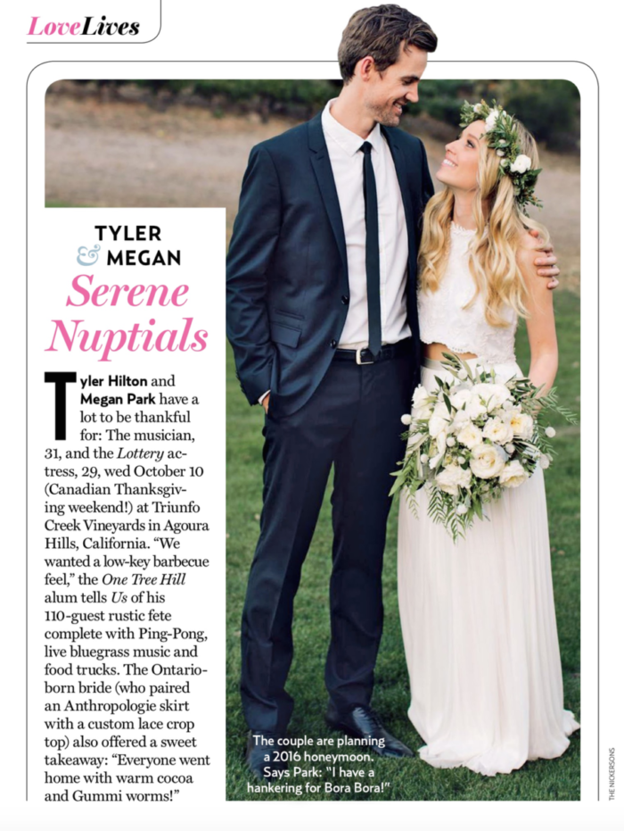 Tyler Hilton and Megan Park in a magazine adorned by a bridal bouquet and floral crown by La Petite Gardenia.